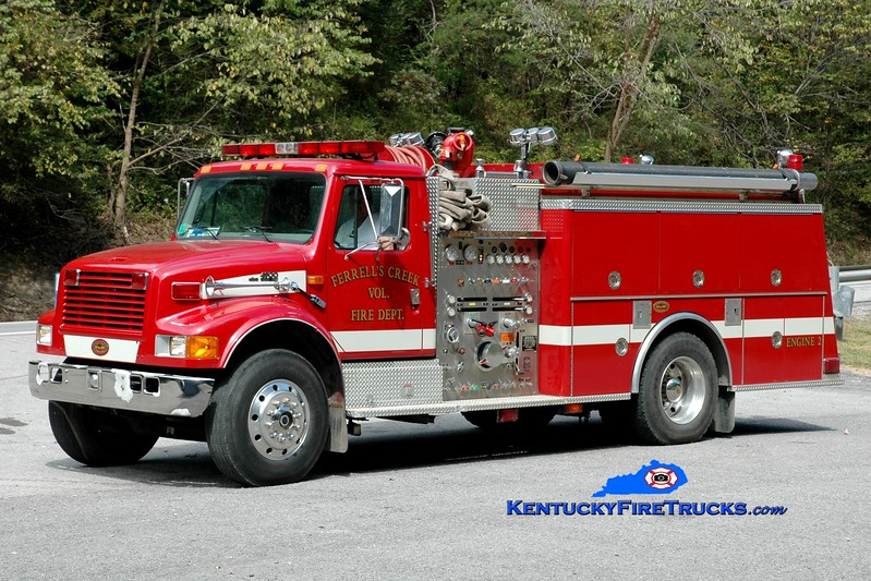 <center> NOW WITH ELKHORN CITY <br> Ferrells Creek  Engine 2  <br> 1998 International 4900/KME 1250/1000 <br> Greg Stapleton photo </center>
