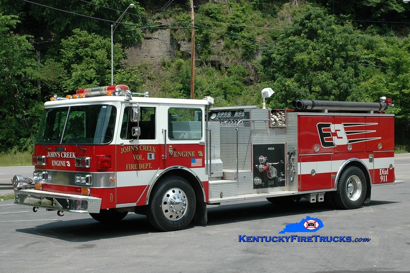 <center> John's Creek  Engine 3 <br> x-Franklin Twp, OH  <br> 1988 Pierce Arrow/Wynn 1250/750 <br> Greg Stapleton photo <br> </center>