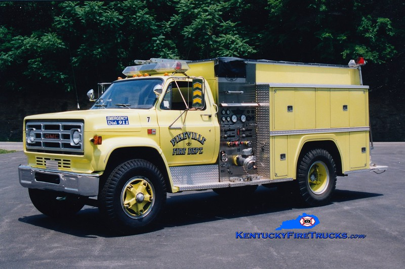 <center> RETIRED <br> Pikeville  Engine 7  <br> 1984 GMC/American 1000/750 <br> Greg Stapleton photo </center>