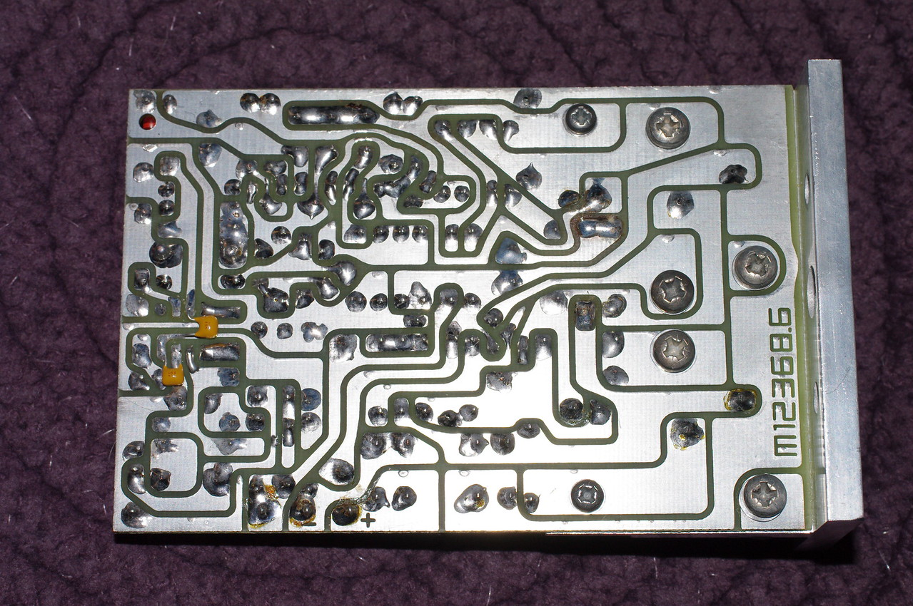 Here's the back side, showing how I wired the supply  decoupling capacitors for the op amp.