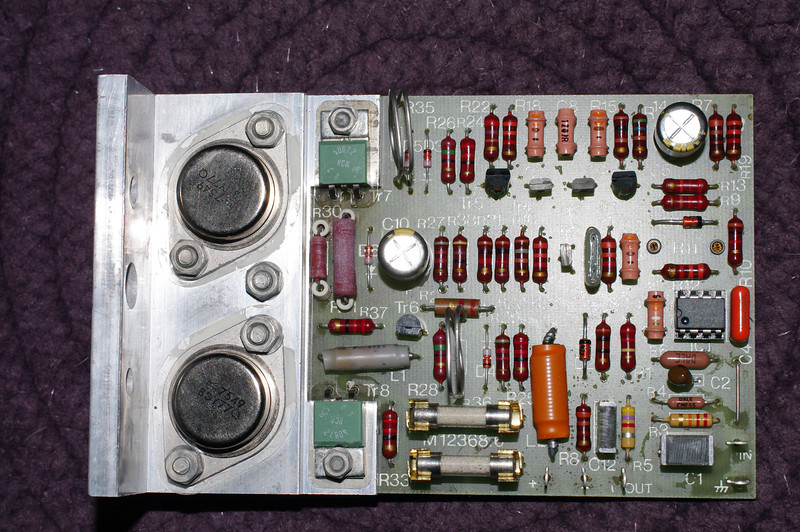 Top side, after mods. Note that C5 and C10 used the same parts. These are decoupling capacitors, not intended to modify the frequency response of the amplifier so the value is not critical.<br /> <br /> Also, R3 on these boards was 22k, the standard value - not the 10k shown in the service manual for rev 5 abd rev 6.