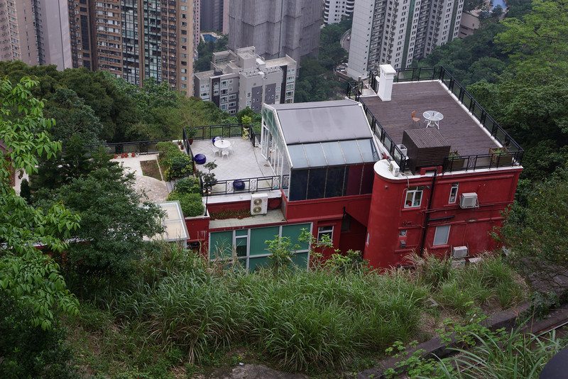 House viewed from the peak. I guess that they have to keep their roof tidy.
