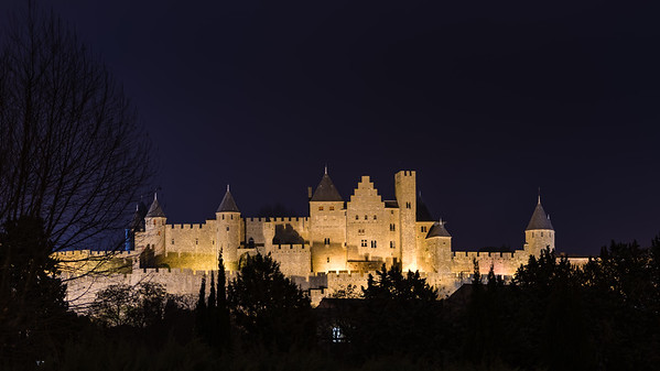Carcassonne medieval city by night