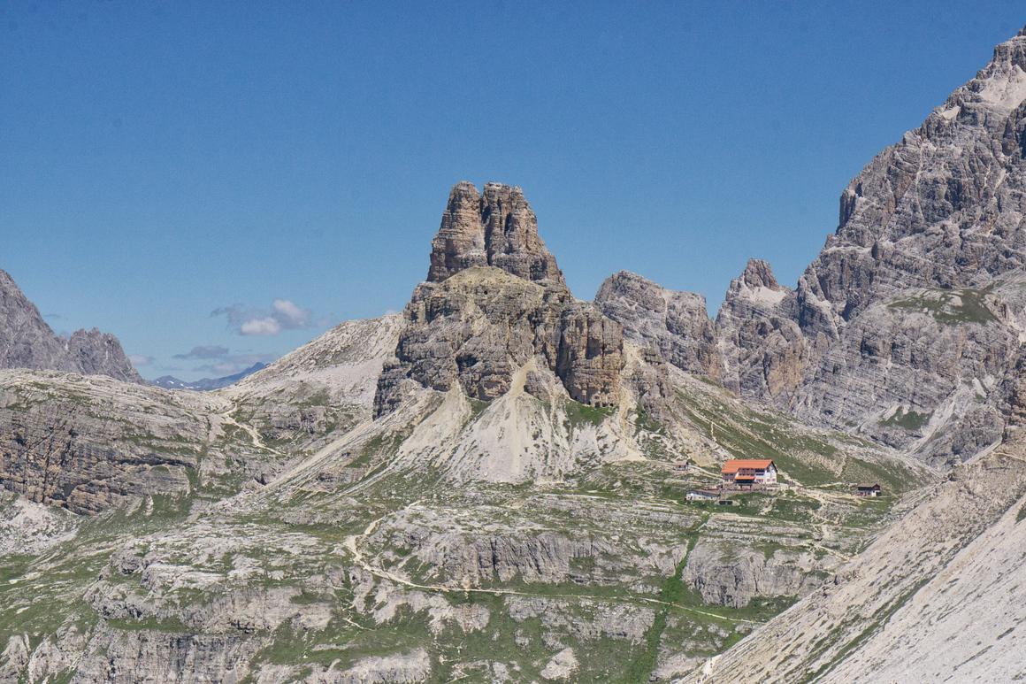 Distant view of the Rifugio Locatelli