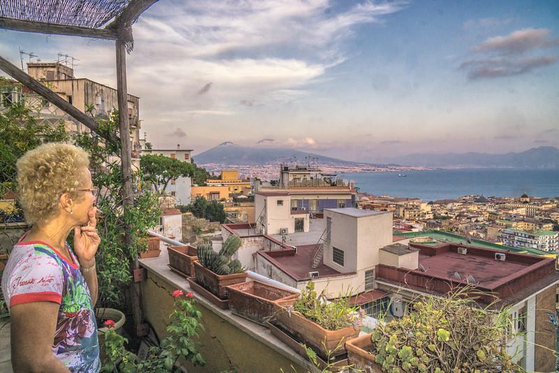 Chris on the verandah of our flat in Naples