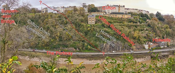 Geologically annotated panorama from the Suspension Bridge to Hotwells