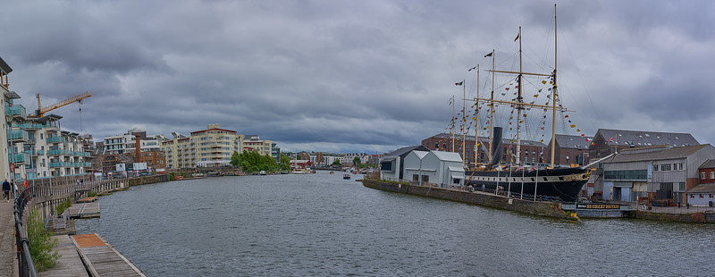 Panorama of the harbour and SS Great Britain