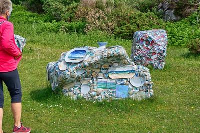Near Ullapool - decorated rocks at Highland Stoneware, Lochinver