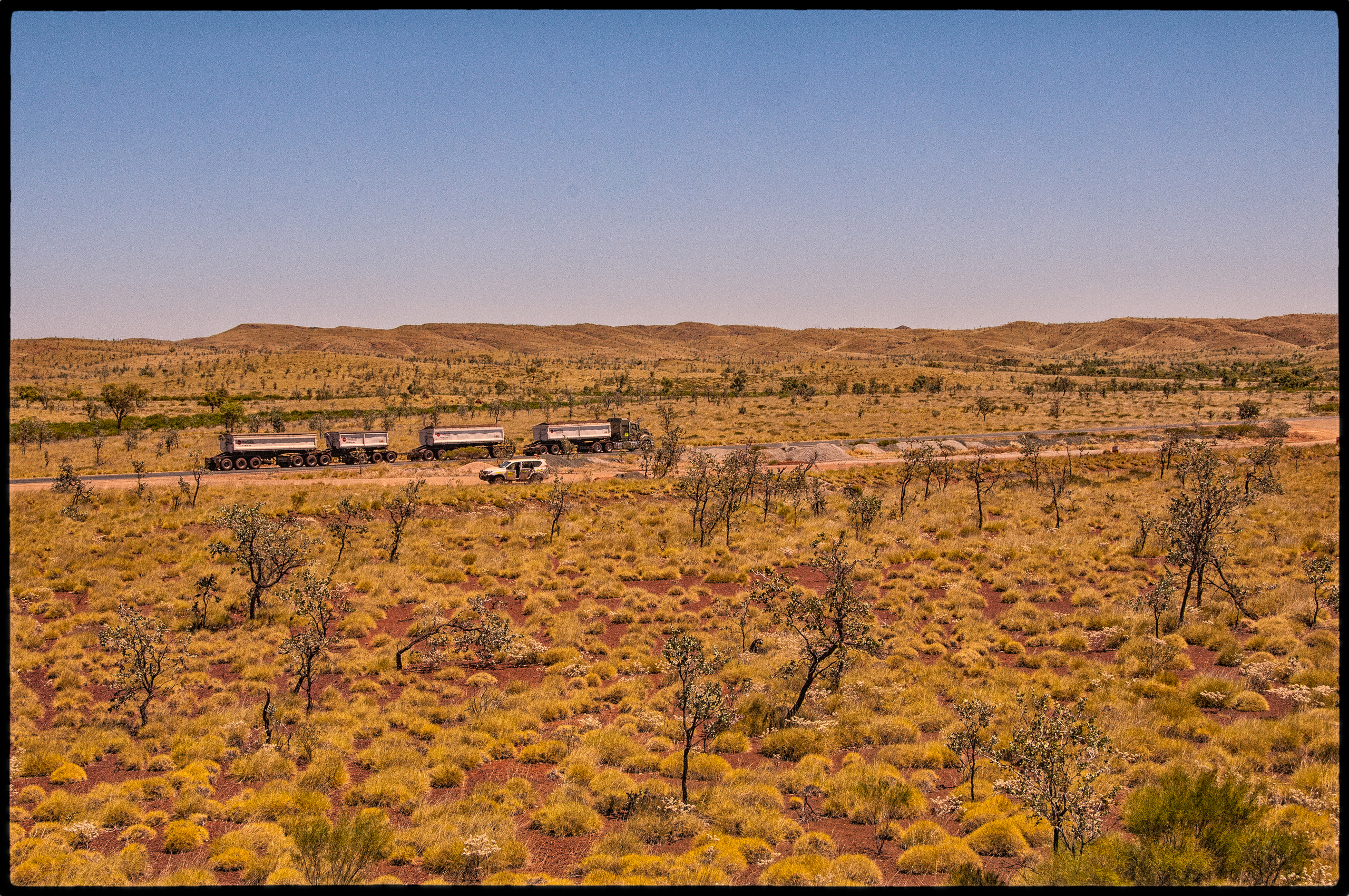 Road train passing our car