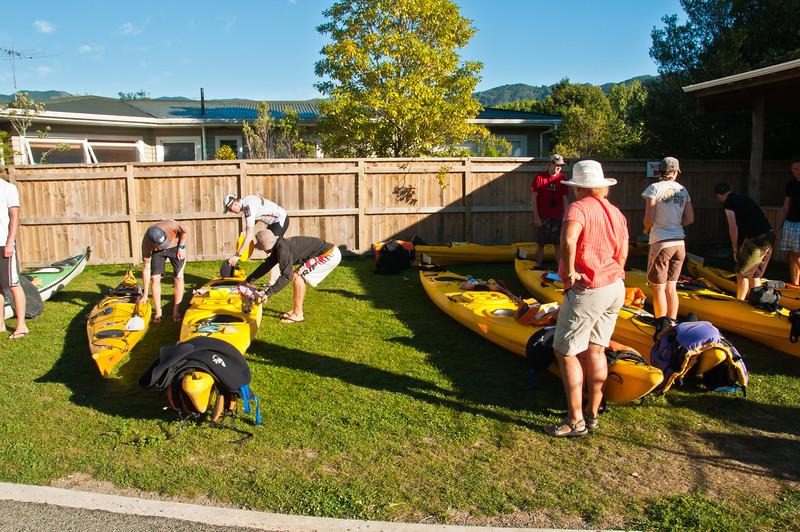 Preparing our kayaks
