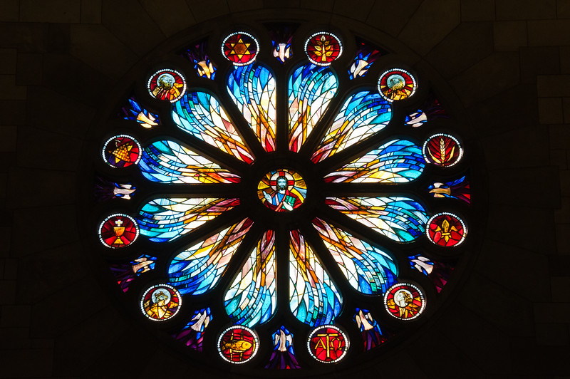 Stained glass window in Nelson Cathedral