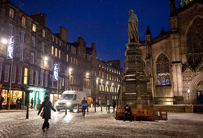 Royal Mile on a snowy night