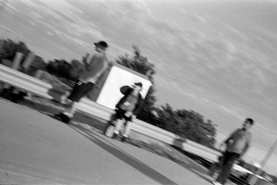 I tried taking a photo from the hip while walking, it's not what I was trying to do but I like it.  Taken with Kiev IIa