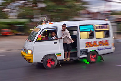 Crazy bemo of Kupang streets. Timor, Indonesia.