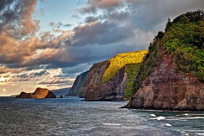 """""""North Kohala Coast""""  As viewed just before sunset from Pololu Valley looking towards Waipio. Big Island Hawaii."""