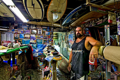 Tim Orr of Pure Life Surfboards in one of  his shaping rooms. Big Island Hawaii, July 2012.