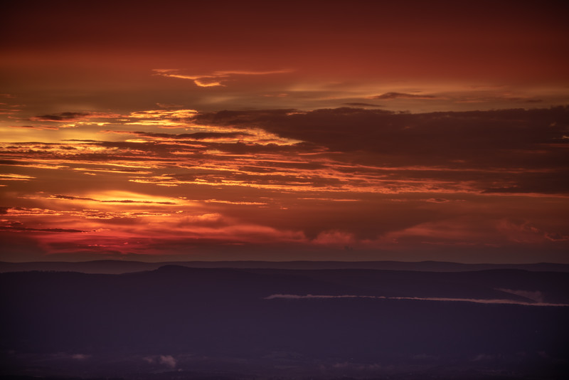 Ridges and red sky