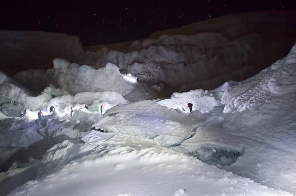Ice climbing up a volcano