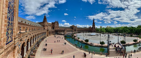 Beautiful afternoon spent wandering thru the Plaza de Espana in Seville, Spain