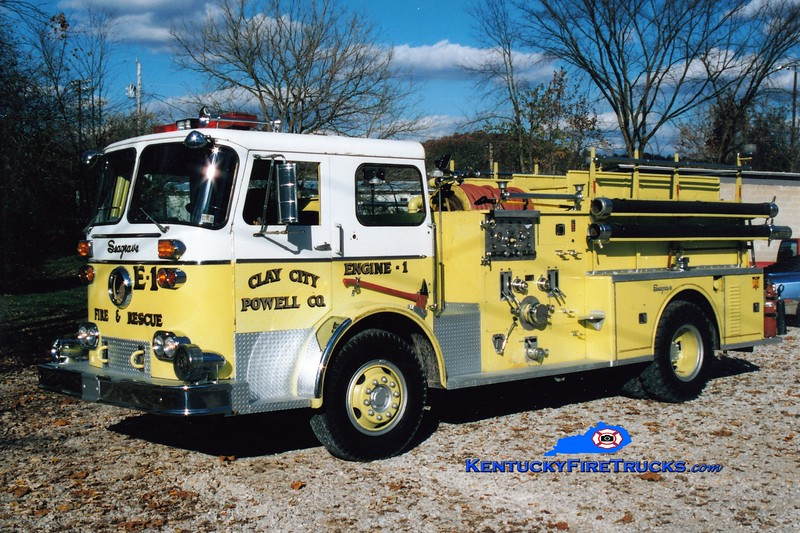 <center> RETIRED  <br> Clay City Engine 21 <br> x-Lennox Park, PA <br> 1966 Seagrave KB 1000/750  <br> Greg Stapleton photo </center>