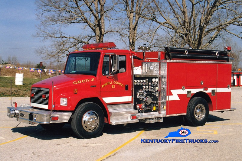 <center> RETIRED <br> Clay City-Powell County  Engine 21 <br> 1999 Freightliner FL70/Pierce 1250/1000/40  <br> Greg Stapleton photo </center>