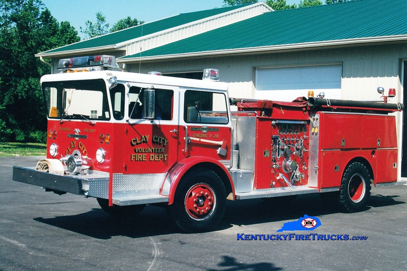 <center> RETIRED <br> Clay City  Engine 20 <br> x-High Ridge, MO <br> 1971 American LaFrance Pioneer 1000/750  <br> Greg Stapleton photo </center>