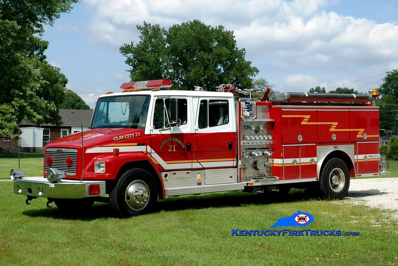 <center> Clay City-Powell County  Engine 21 <br> x-Greensburg, KY <br> 1996 Freightliner FL80/E-One 1500/1000  <br> Greg Stapleton photo </center>