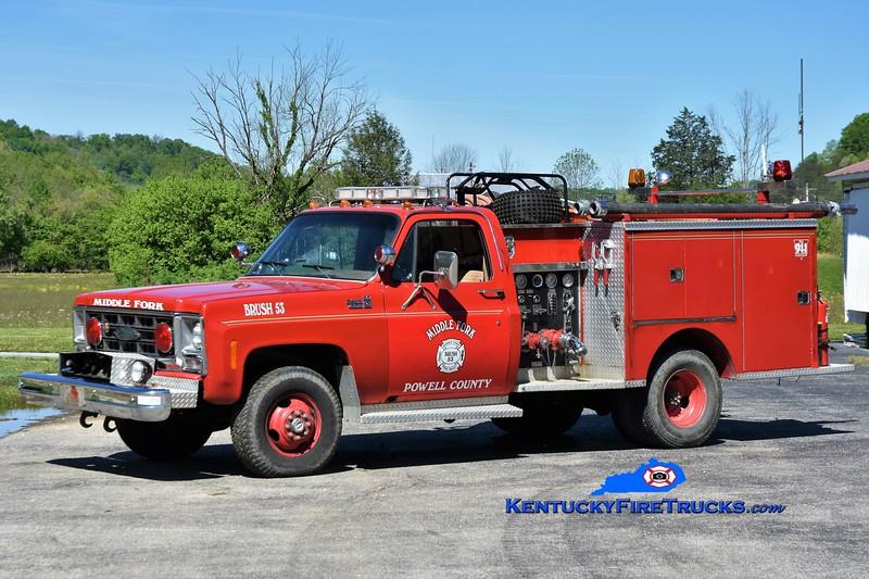 Middle Fork-Powel County  Engine 53<br /> x-Stanton, KY<br /> 1979 Chevy K30 4x4/Pierce 350/250<br /> Greg Stapleton photo