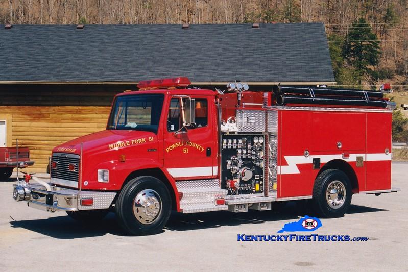 <center> Middle Fork-Powell County  Engine 51 <br> 1999 Freightliner FL70/Pierce 1250/1000/40  <br> Greg Stapleton photo </center>