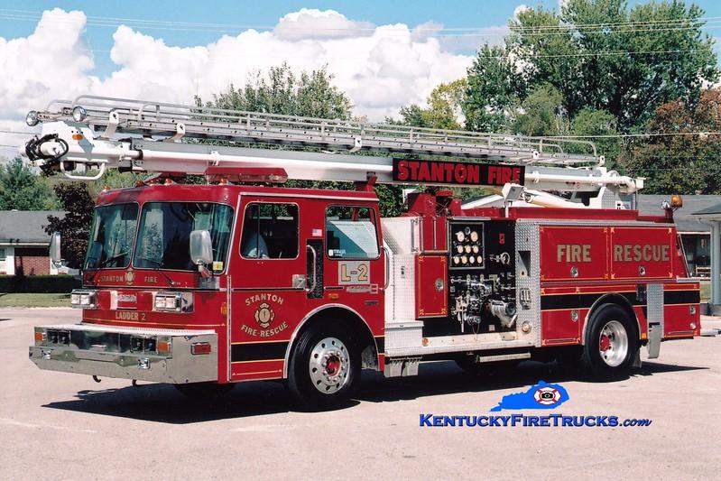 <center> Stanton  Ladder 2 <br> x-Holly Springs, NC <br> 1986 Pemfab/Boardman 1000/500/55' Readi-Tower  <br> Greg Stapleton photo </center>