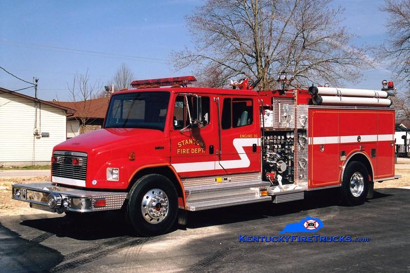 <center> Stanton  Engine 30 <br> 1999 Freightliner FL80/Pierce 1250/1000/40  <br> Greg Stapleton photo </center>