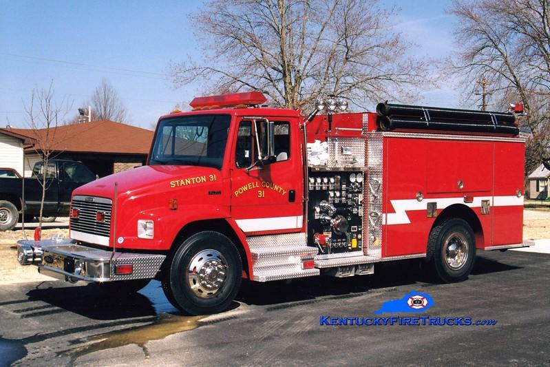 <center> Stanton-Powell County  Engine 31 <br> 1999 Freightliner FL70/Pierce 1250/1000/40  <br> Greg Stapleton photo </center>