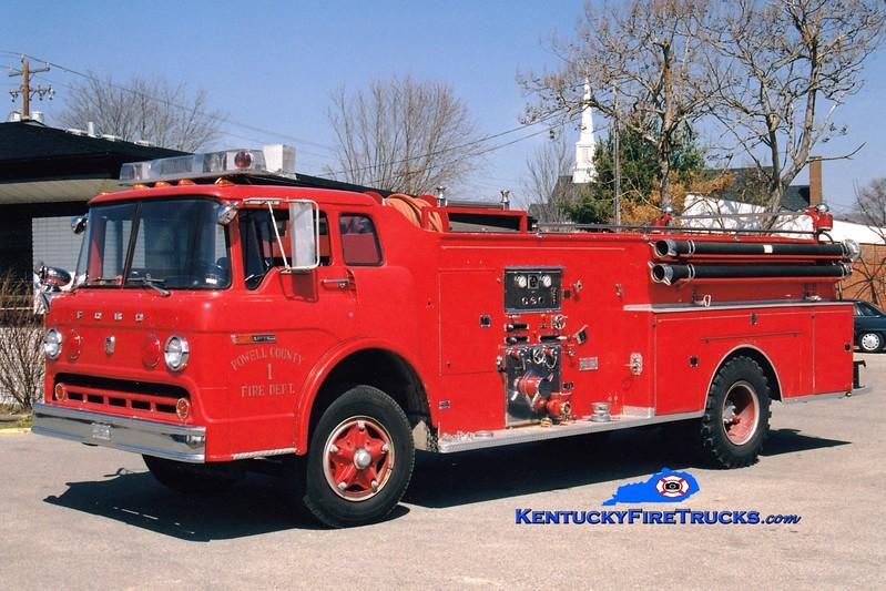 <center> RETIRED <br> Stanton-Powell County  Engine 31 <br> 1974 Ford C/Sutphen 750/1000  <br> Greg Stapleton photo </center>