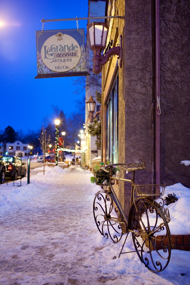 Manitou Springs on a winter night