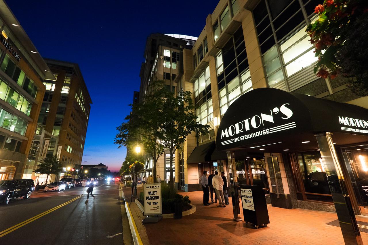 Reston Town Center on a summer evening