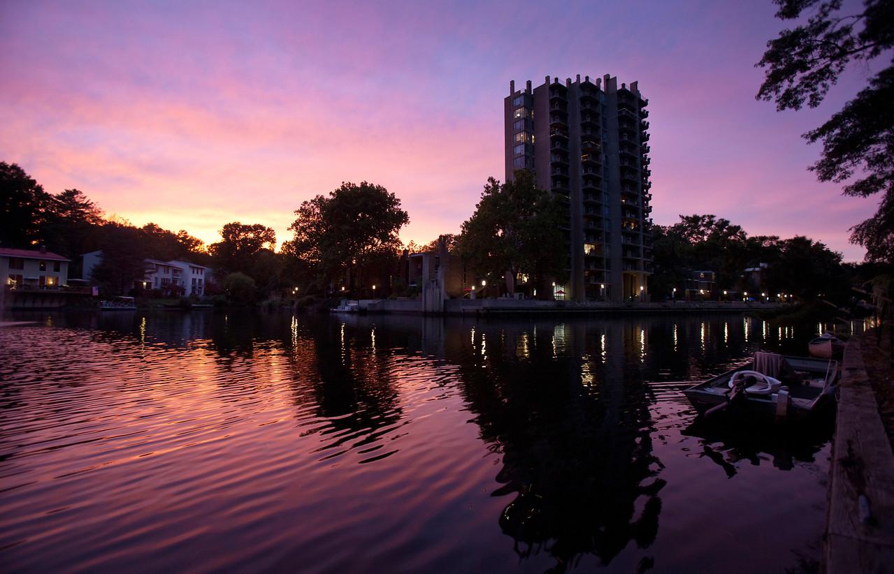 Sunset over Lake Anne Plaza