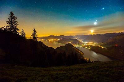 Stars over lake Lucerne / Alpnach, Switzerland