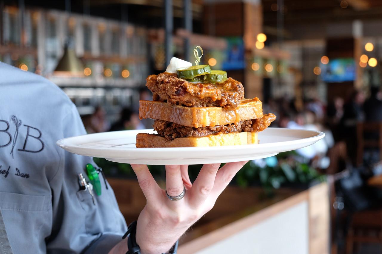 Chicken and Waffles at Barrel and Bushel