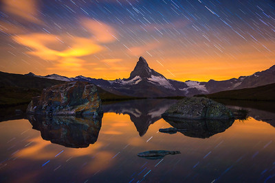 Star trails / Stellisee, Switzerland