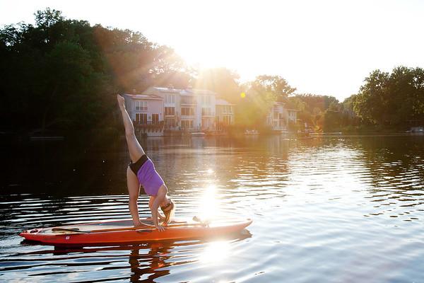 Paddle board yoga