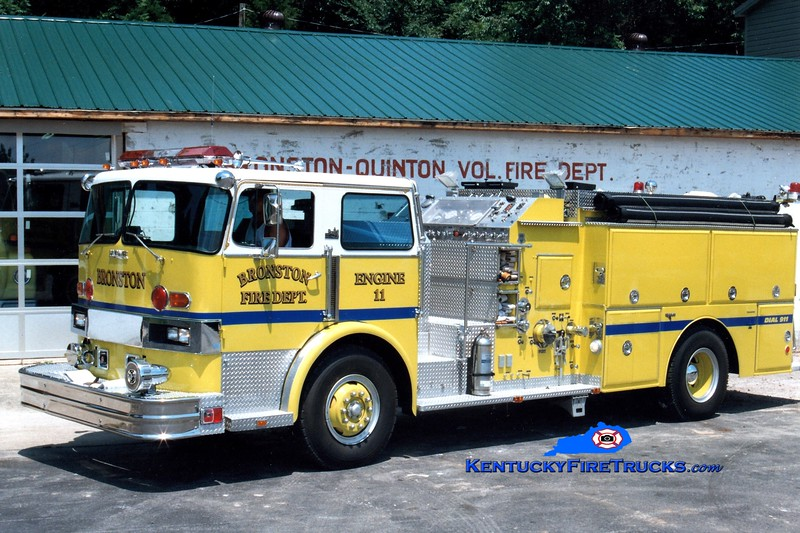 <center> RETIRED <br> Bronston Engine 11 <br> x-Fairview, PA <br> 1979 Hendrickson 1871-C/Grumman-Howe 1250/1400 <br> Greg Stapleton photo </center>