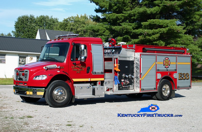 <center> Ferguson Engine 33 <br> 2011 Freightliner M2-106/Pierce 1250/1000/30 <br> Kent Parrish photo </center>