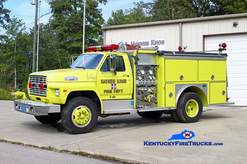 <center> Haynes Knob  Engine 101 <br> 1988 Ford F-700/E-One 750/500 <br> Kent Parrish photo </center>