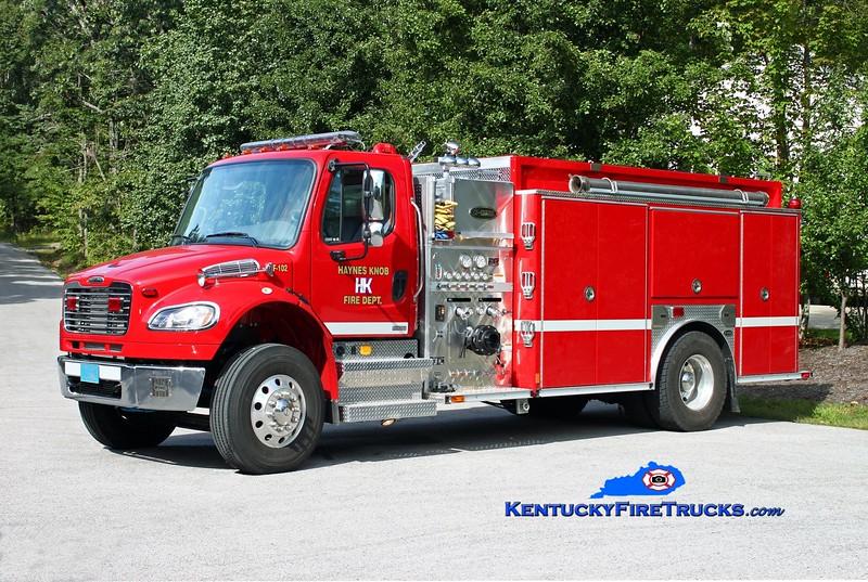 <center> Haynes Knob  Engine 102 <br> 2010 Freightliner M2-106/Pierce 1250/1250 <br> Kent Parrish photo </center>