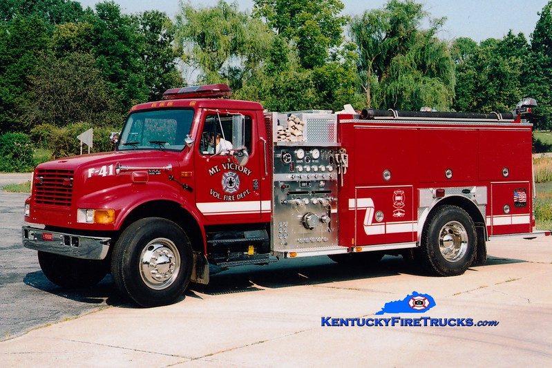 <center> RETIRED <br> Mt Victory  Engine 41 <br> x-Highland, KY <br> 1999 International 4900/E-One 1250/1000 <br> Greg Stapleton photo </center>