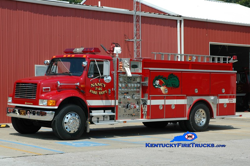 <center> Nancy  Engine 46 <br> 1992 International 4900/Allegheny 1000/1500 <br> Greg Stapleton photo </center>