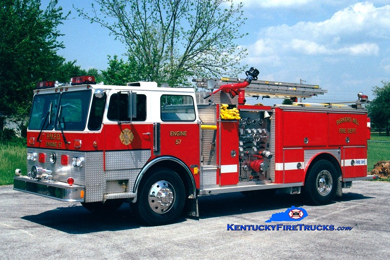 <center> FORMER <BR> Parkers Mill  Engine 57 <br> 1980 Duplex D-250/E-One 2000/500 <br> Greg Stapleton photo </center>