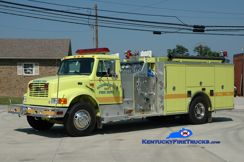 <center> Science Hill  Engine 63 <br> 1997 International 4900/Pierce 1250/1000 <br> Greg Stapleton photo <br> </center>