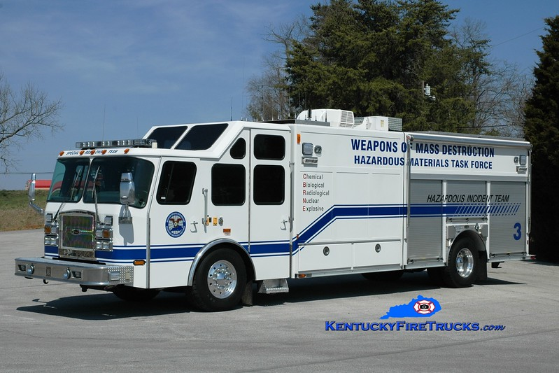 <center> Somerset-Pulaski County Special Response Team Unit 3 <br> x-Hillsborough County, FL <br> 2001/2012 E-One Cyclone II Hazmat Unit   <br> Greg Stapleton photo </center>