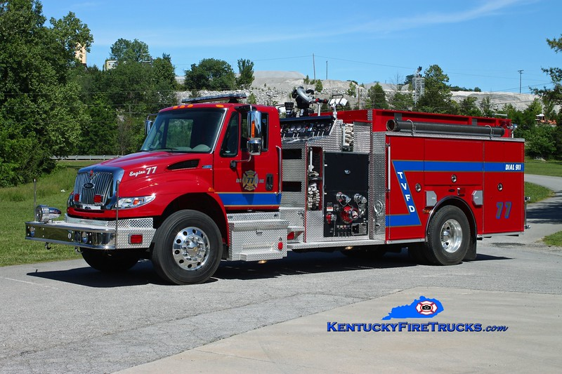 <center> Tateville  Engine 77 <br> 2011 International 4400/Pierce 1500/1000/30 <br> Kent Parrish photo </center>